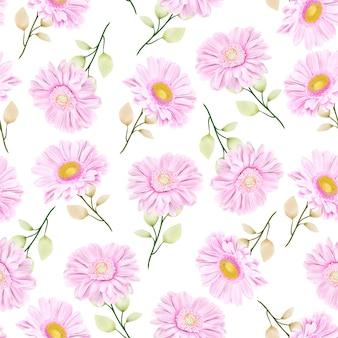 Beau modèle sans couture de chrysanthème aquarelle