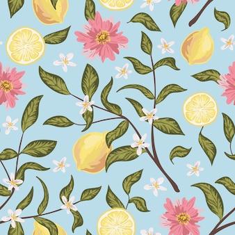 Beau modèle sans couture avec des citrons, des fleurs et des branches. fond d'écran coloré dessiné à la main.