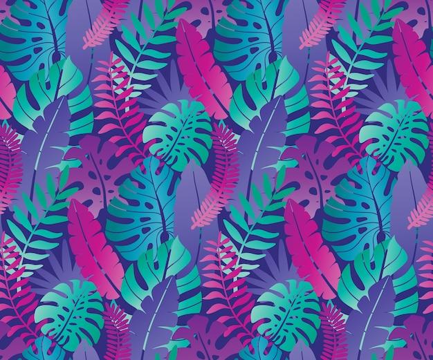 Beau modèle sans couture avec des feuilles de monstera de palmier jungle ropical