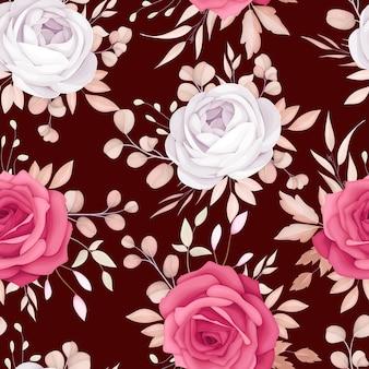 Beau modèle sans couture de fleur marron romantique