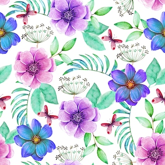 Beau modèle sans couture avec fleurs colorées