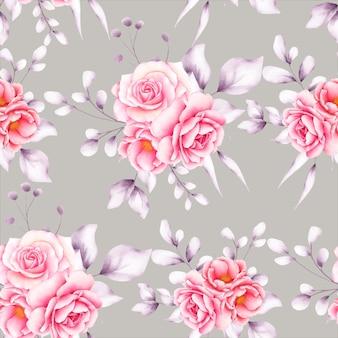 Beau modèle sans couture floral aquarelle