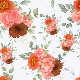 Beau modèle sans couture floral dessiné main avec ornement floral boho