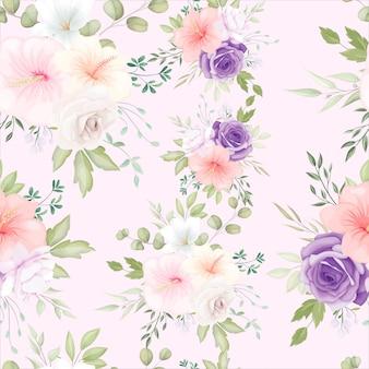 Beau modèle sans couture floral dessiné à la main