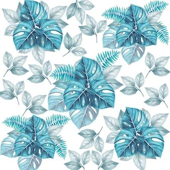 Beau modèle sans couture floral feuilles aquarelle