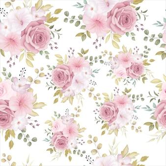 Beau modèle sans couture floral avec fleur rose poussiéreuse