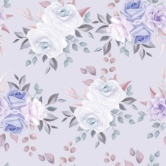 Beau modèle sans couture floral avec des fleurs violettes douces