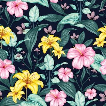 Beau modèle sans couture floral vintage