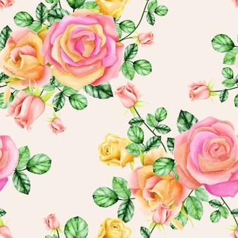 Beau modèle sans couture florale aquarelle