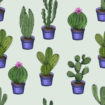 Beau modèle sans couture avec illustration de cactus dessinés à la main