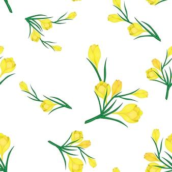 Beau modèle sans couture de printemps avec des crocus jaunes.