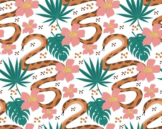Beau modèle sans couture avec python et feuilles tropicales. fleurs imprimées avec des plantes exotiques dessinées à la main et un serpent. illustration vectorielle.