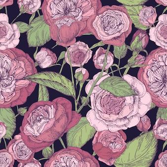 Beau modèle sans couture rose détaillée en forme de pion. feuilles et fleurs de fleurs dessinées à la main. illustration vintage colorée.