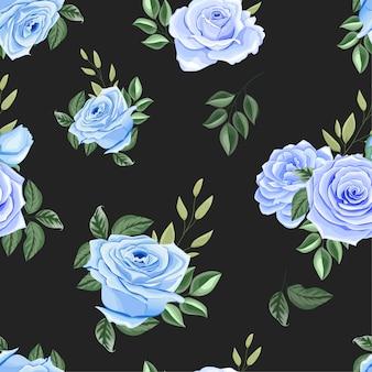 Beau modèle sans couture avec des roses bleues