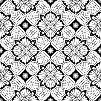 Beau modèle sans couture traditionnel indien noir et blanc