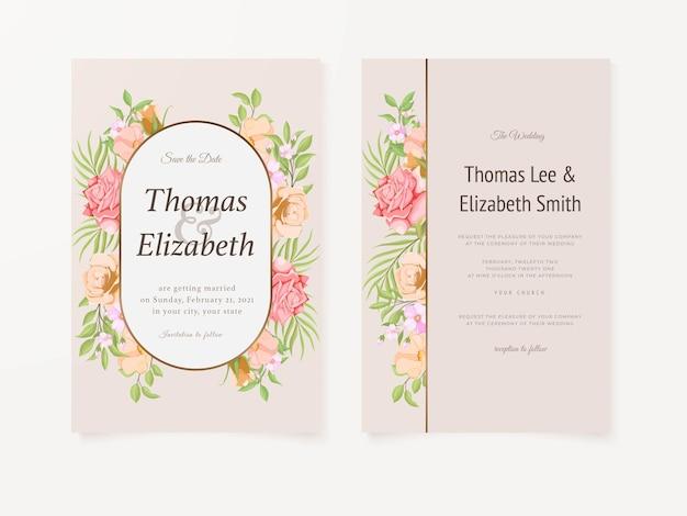 Beau modèle de vecteur floral de carte d'invitation de mariage