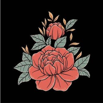 Beau modèle de vecteur illustré rose rouge