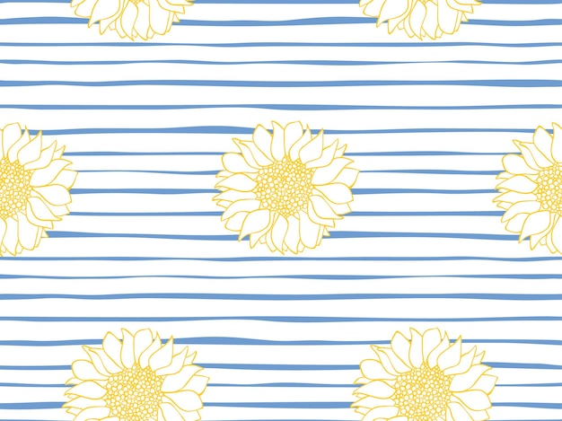Beau modèle vectoriel continu de tournesols sur un rayé bleu et blanc. motif floral sans couture. rayure marine