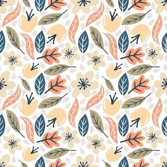 Beau modèle vectorielle continue avec diverses feuilles et fleurs sur le fond