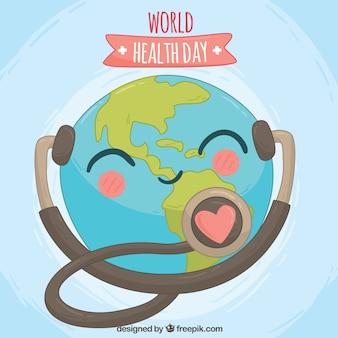 Beau monde fond journée de la santé avec un stéthoscope