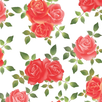 Beau motif de fleur rose aquarelle
