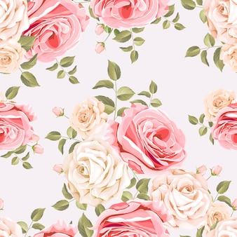 Beau motif floral et feuilles sans soudure