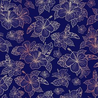Beau motif floral d'hibiscus en or rose
