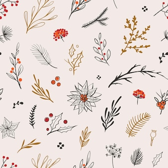 Beau motif floral de noël modèle sans couture de vecteur avec des fleurs, des feuilles et des baies