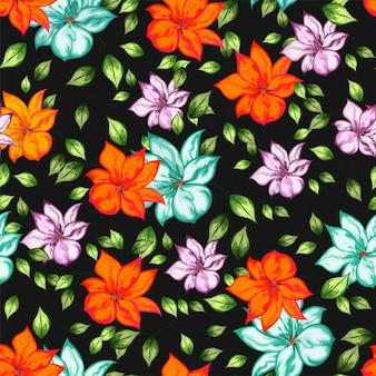 Beau motif floral sans couture avec effet aquarelle.
