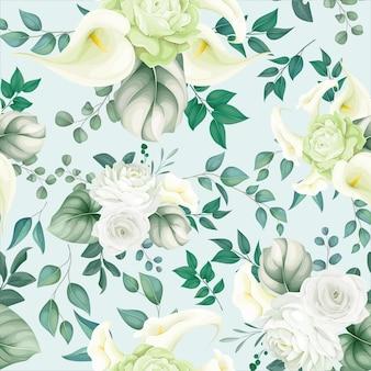 Beau motif floral sans couture lys blanc et rose