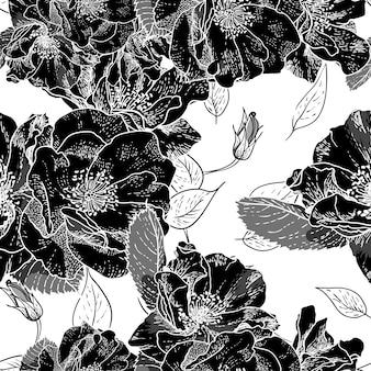 Beau motif floral sans soudure monochrome