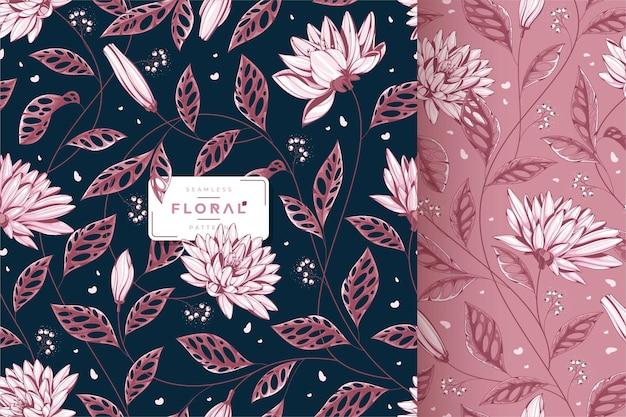 Beau motif floral en tissu vintage foncé