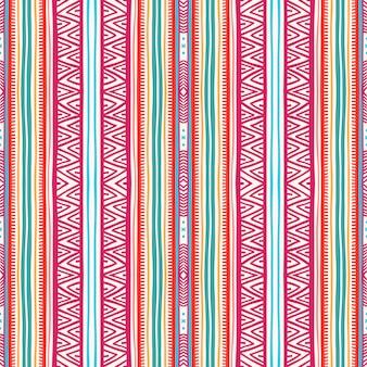 Beau motif tribal sans couture avec rayures verticales et triangles
