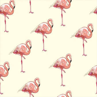 Beau motif tropical sans couture avec flamant rose et hibiscus.