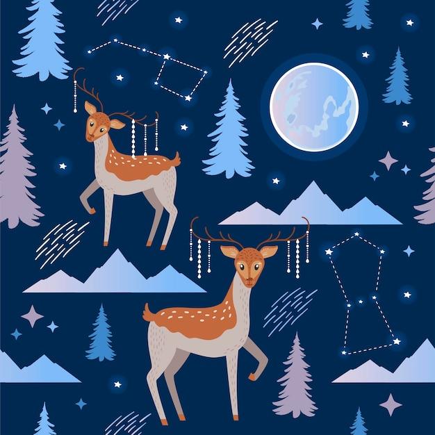 Beau motif vectoriel simple avec des cerfs mignons, des sapins, des montagnes et la lune sur fond bleu foncé. papier d'emballage d'hiver avec des animaux.