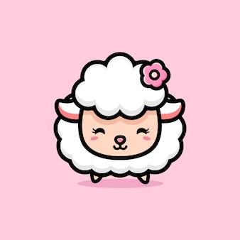 Beau mouton mignon avec des accessoires de fleurs
