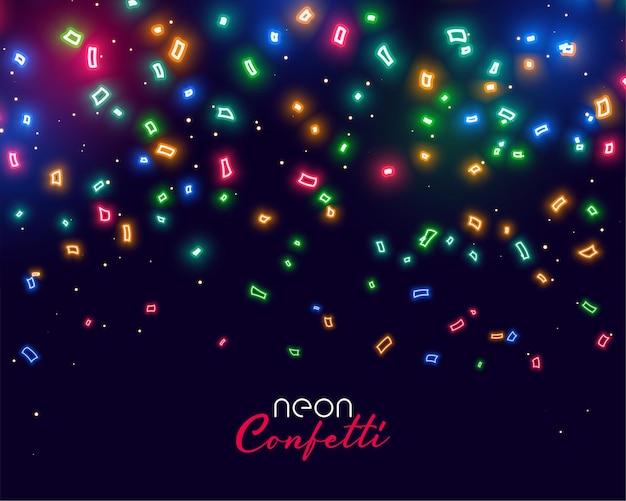 Beau néon brillant tombant des confettis