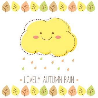 Beau nuage de pluie d'automne avec des gouttes de pluie et des feuilles