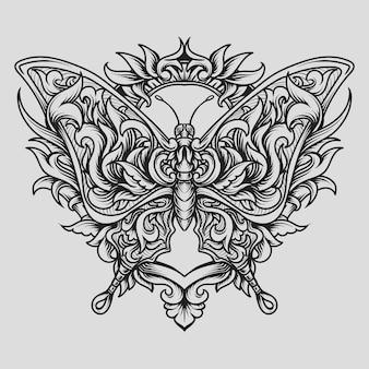 Beau ornement de gravure de papillon de conception faite à la main