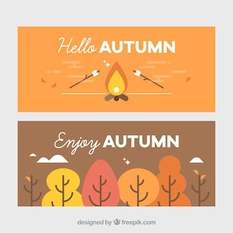 Beau pack de bannières plates d'automne