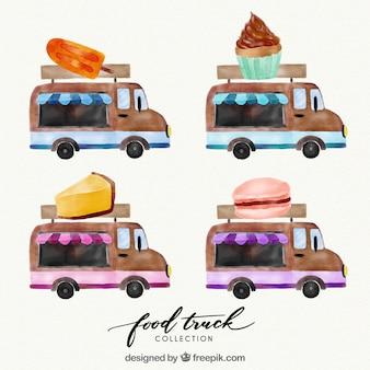 Beau pack de camions d'aquarelle