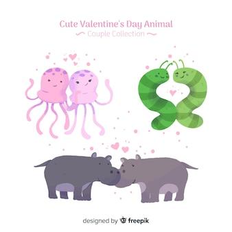 Beau pack de couples d'animaux saint-valentin