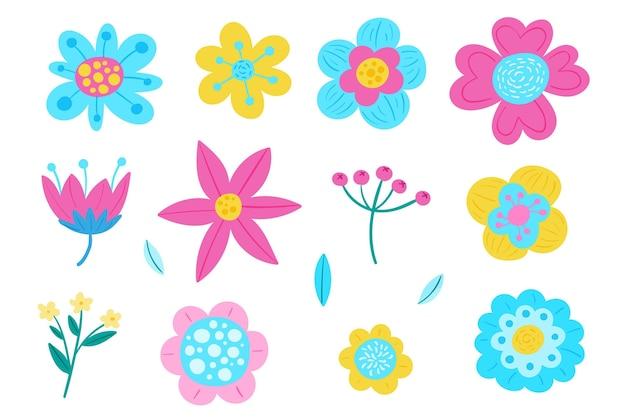 Beau pack de fleurs de printemps dessiné à la main