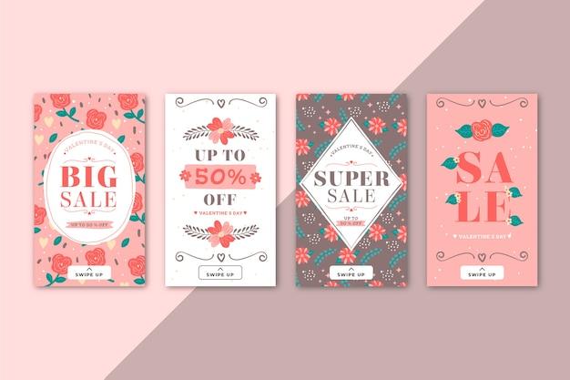 Beau pack d'histoires de vente de la saint-valentin