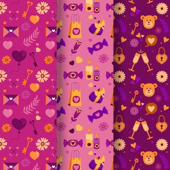 Beau pack de motifs de la saint-valentin dessinés