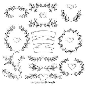 Beau pack d'ornement de mariage dessiné à la main