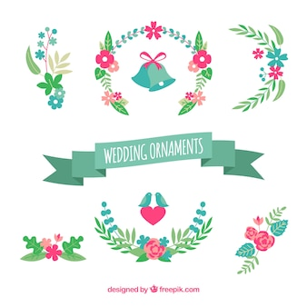 Beau pack d'ornements de mariage plat