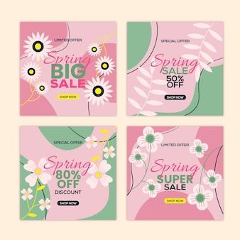 Beau pack de publications de printemps sur instagram