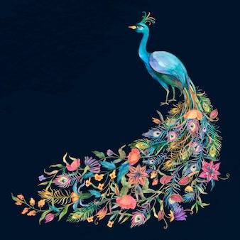 Beau paon bleu aquarelle