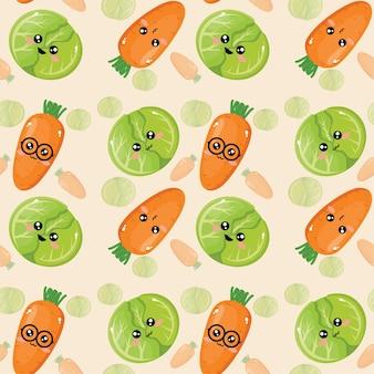 Beau papier peint à motif chou et carotte émoticône créatif